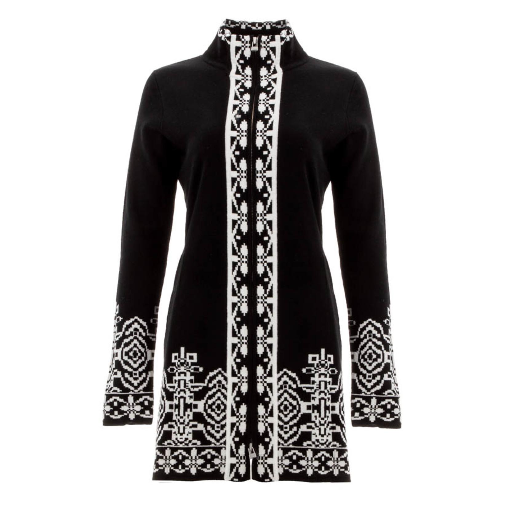 Icelandic Sweater/Long/FullZip/Black/WhitePattrnTrim/HiddnSidPkts/HighNeck