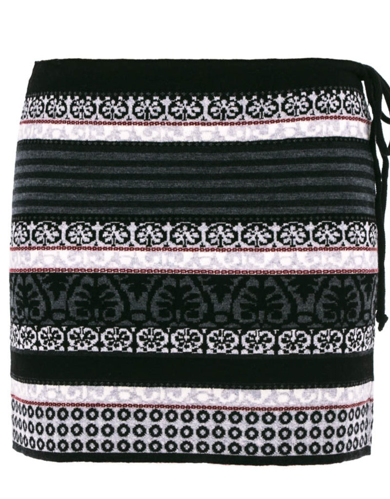 Icelandic Skirt/Mini/Drawstrng/BlackGreyWhiteRedPattern/Chloe