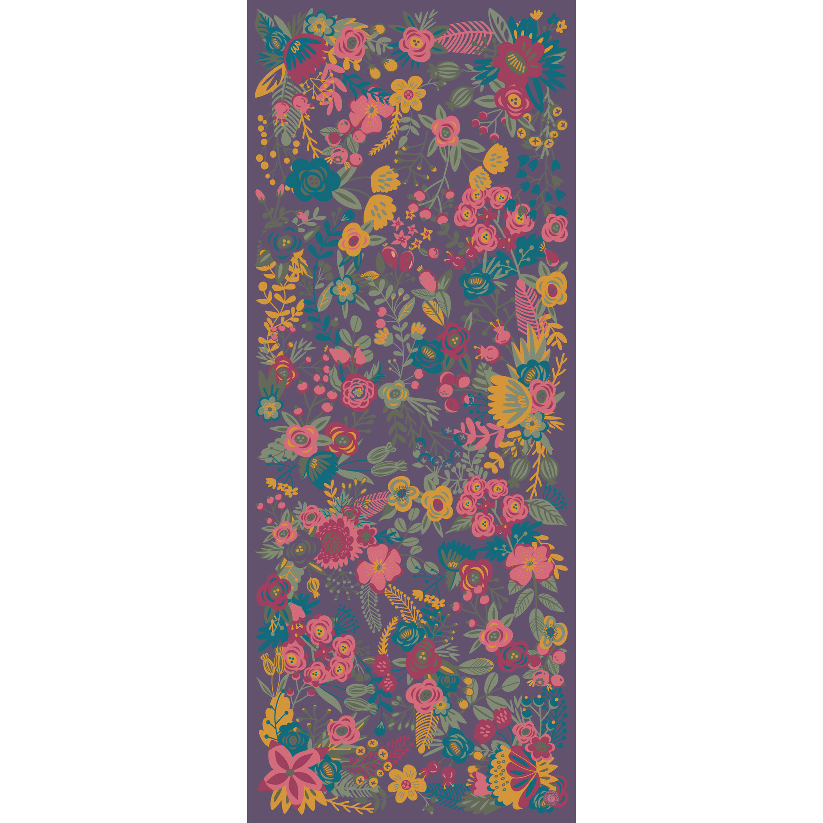 Powder Scarf~Floral Satin~YellowPinkOnPurple
