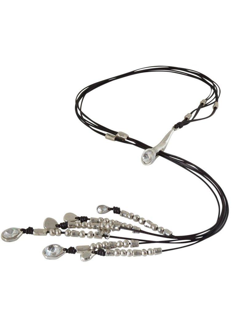 Necklace/Mole/LongBlkCordingPullThruSilver