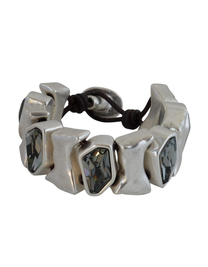 Bracelet/Pluton/Black Diamond Crystal/Silver Bars