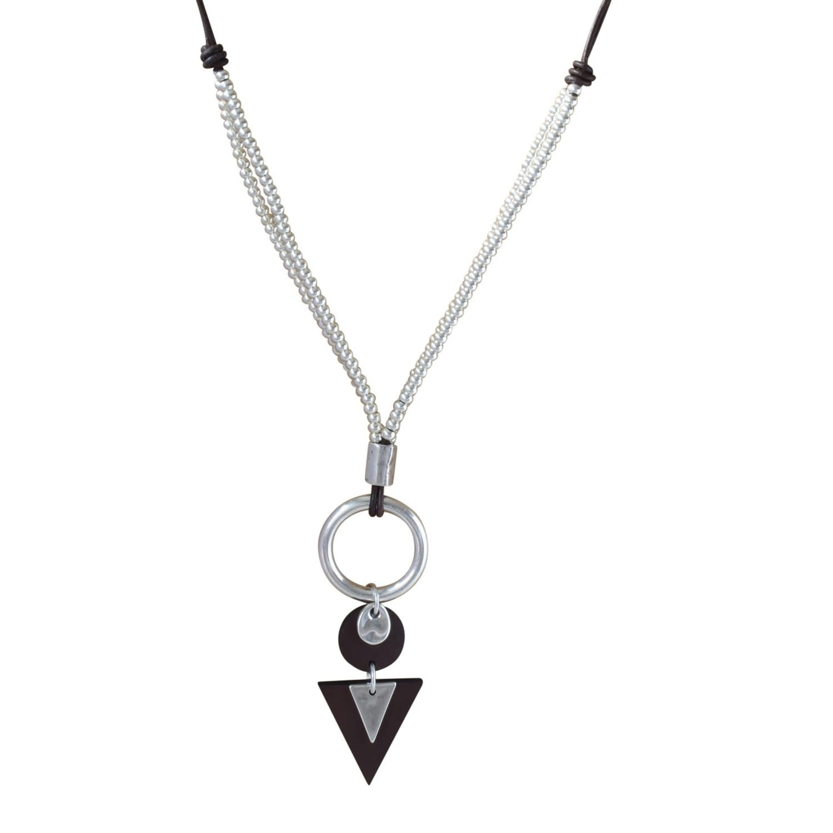Necklace/Apache/TriangleLeather/SilvPlated