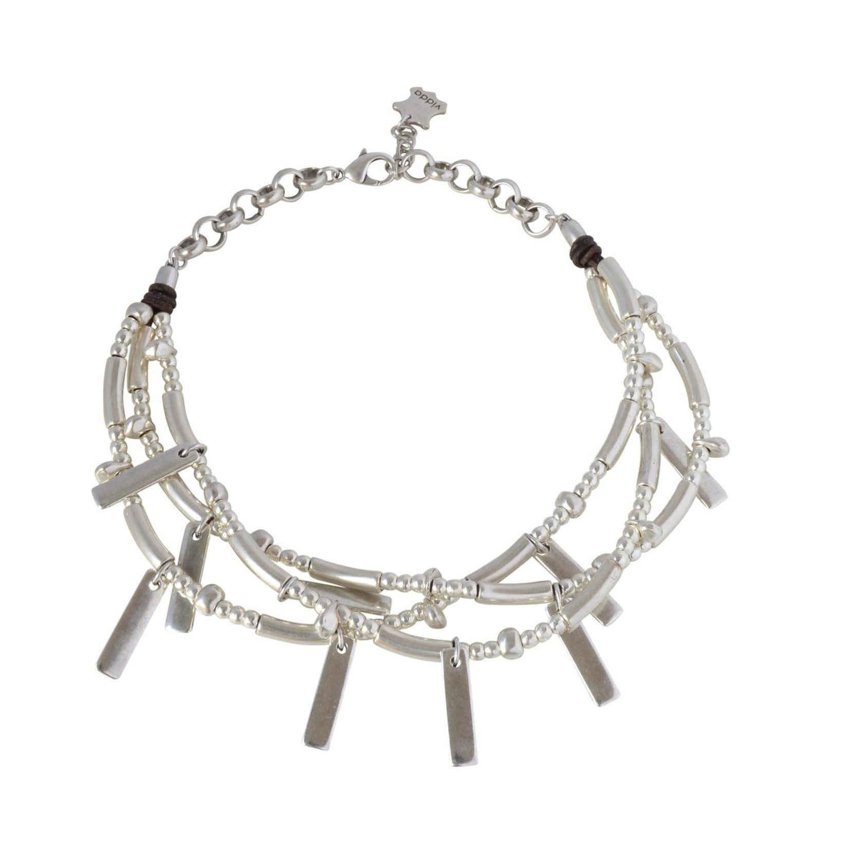 Necklace/Osage/SilvPlated Bars&Beads/Short