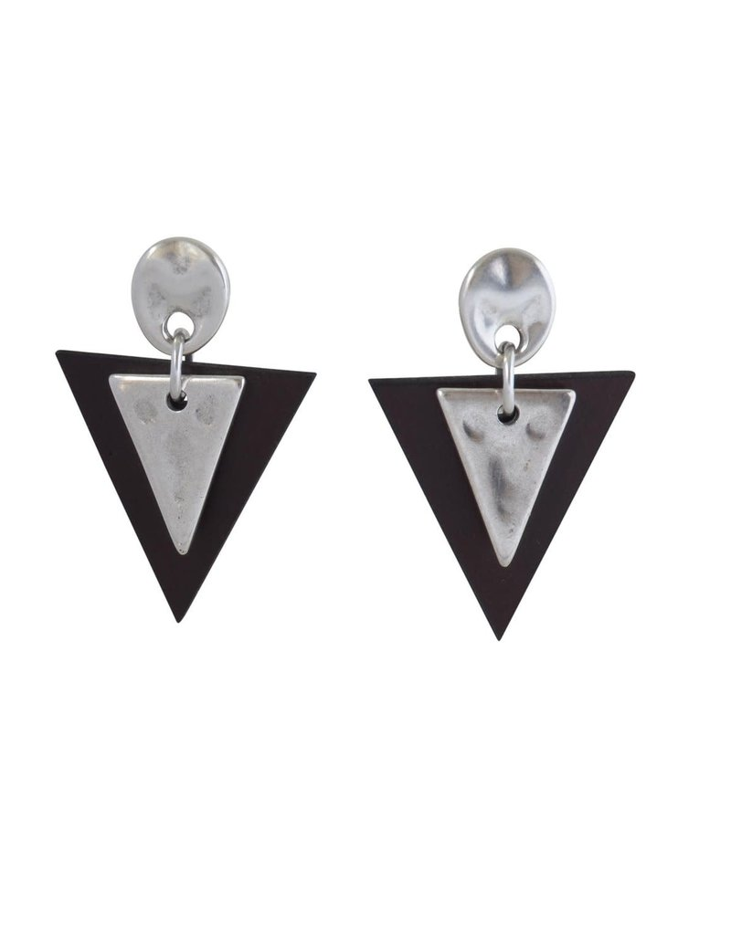 Earrings/Sioux/Triangle Leather/SilvPlate