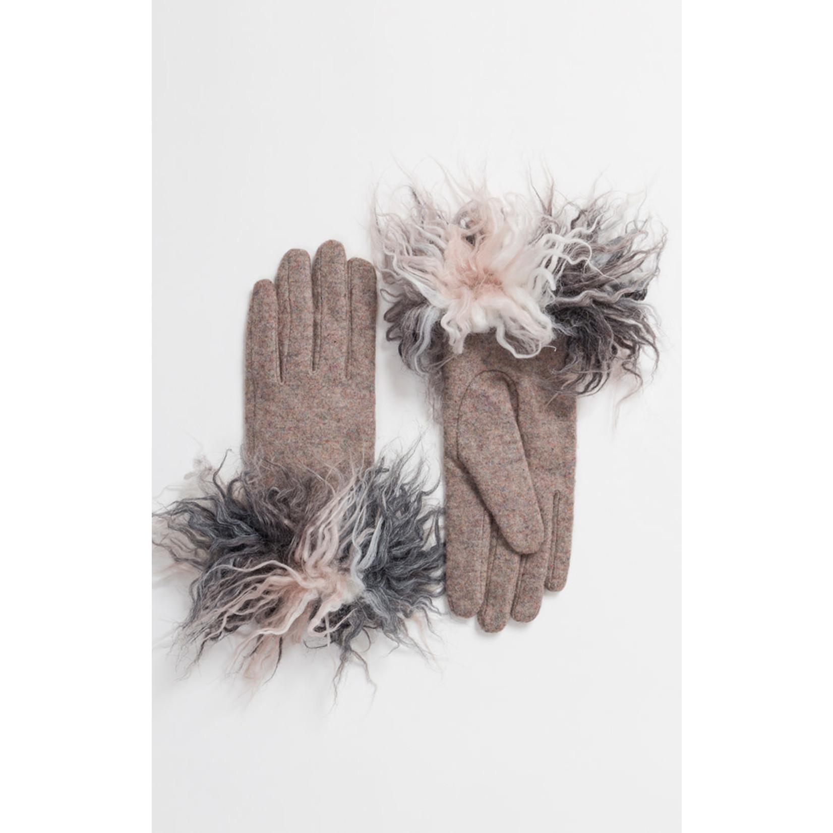 Pia Rossini Gloves/Vanessa/Wool w/BlkGryPinkWhtShaggyWrist