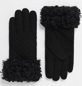 Pia Rossini Glove/Teddi/Quilted w/CurlyFauxFurWrist