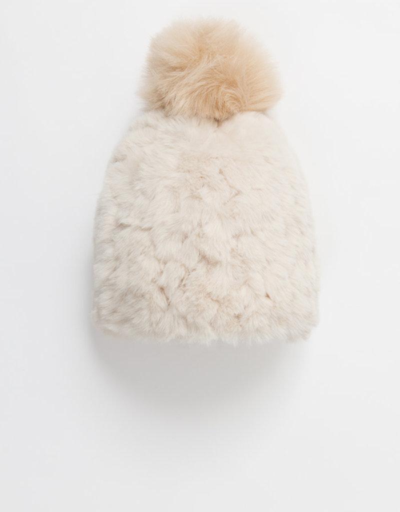 Pia Rossini Hat/TazminBeanieRibbedFauxFur/PomTop
