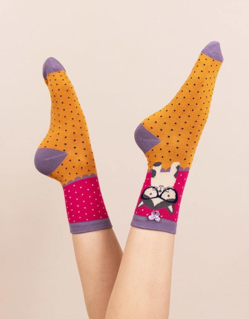 Powder Socks/Ankle/Puss in Specs/Fuschia