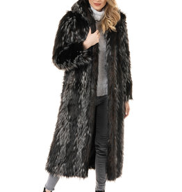 Hooded Full Length Faux Fur Coat