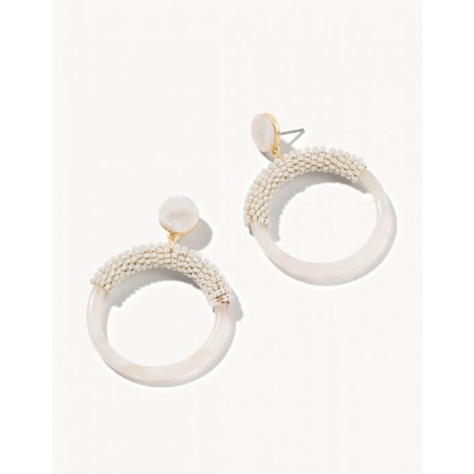 Spartina 65794 Earrings/Beaded Circle Cream