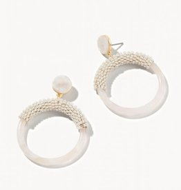 Spartina 65794 Earrings/Beaded Circle Cream