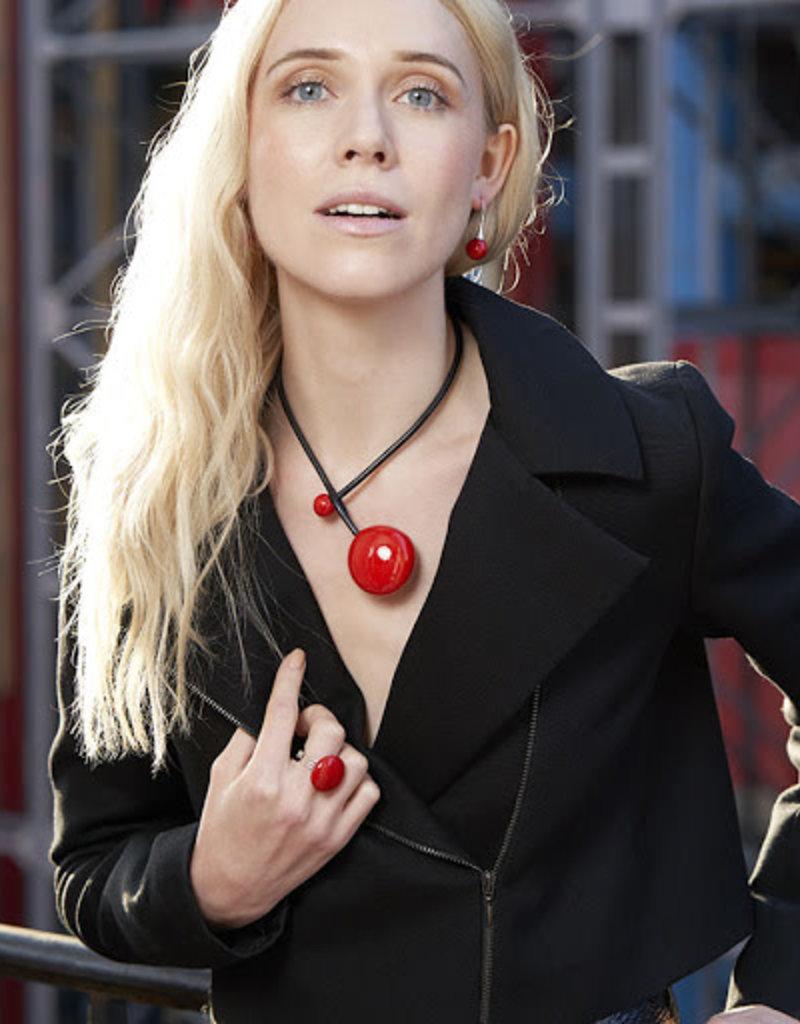 Necklace/Brigitte Flat Ball on Blk Cord/Pull Thru