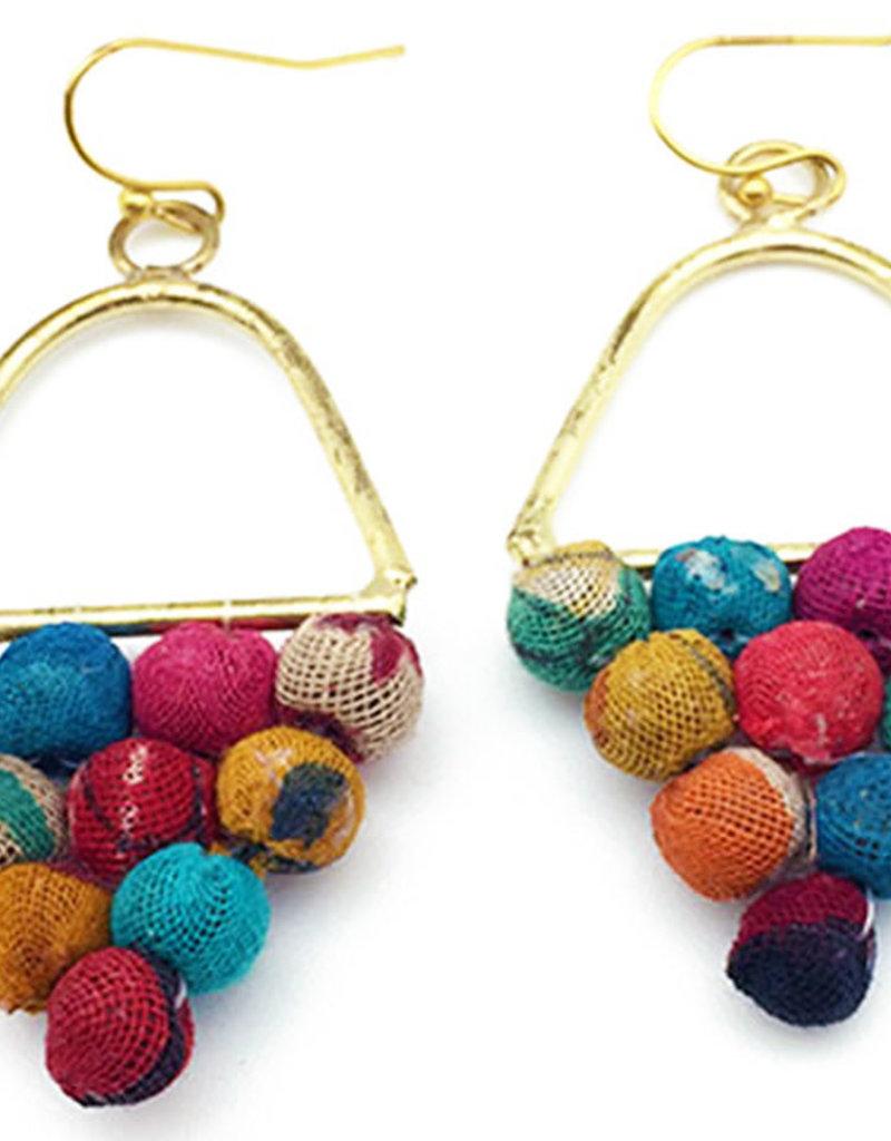 Earrings/Nalini Triangle Cluster Saree  Beads
