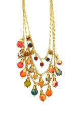 """Necklace/Ishya Silk Saree Covered Beads 22"""""""