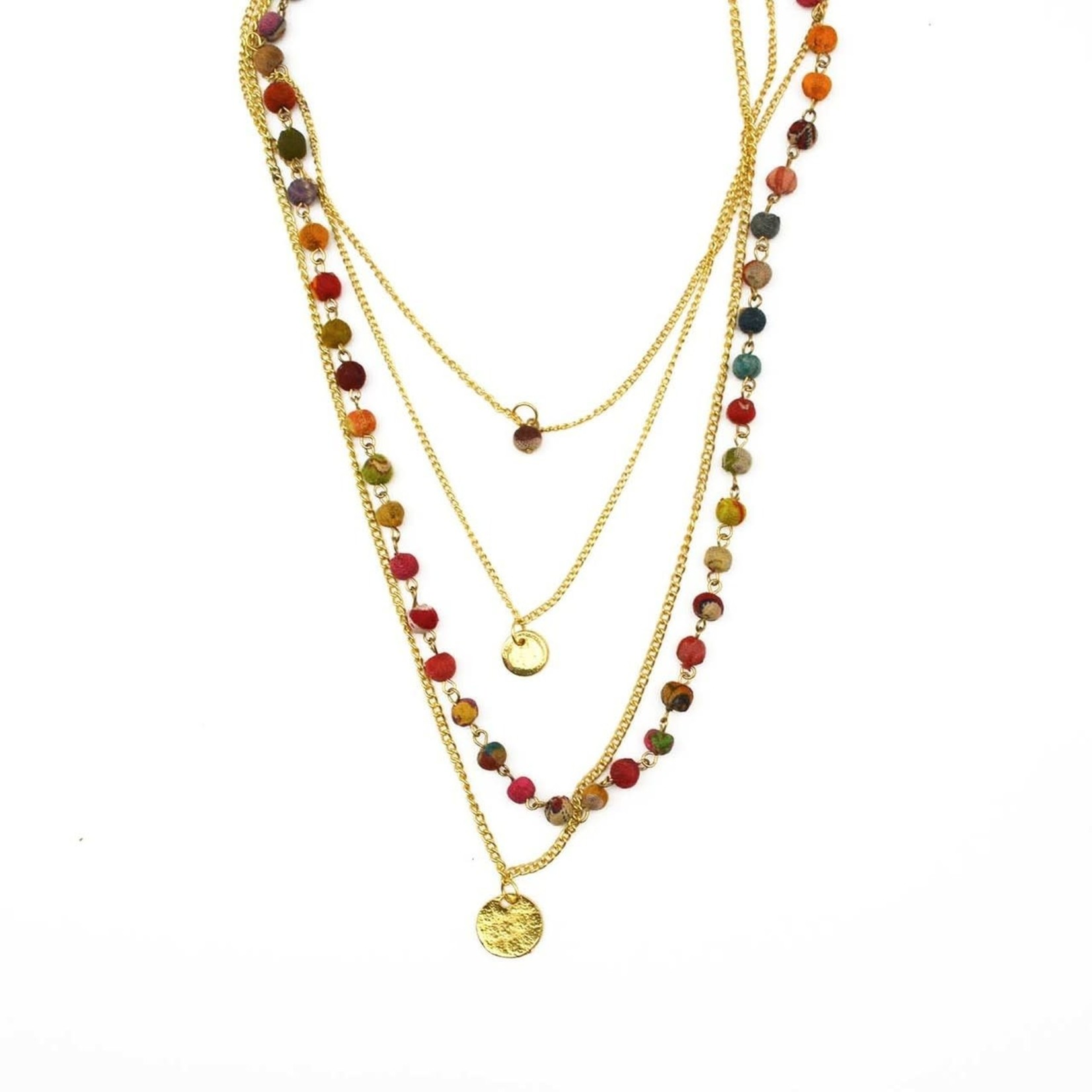 """Necklace/Aashna 4 Strand Gold & Silk Saree Covered Beads 26"""""""
