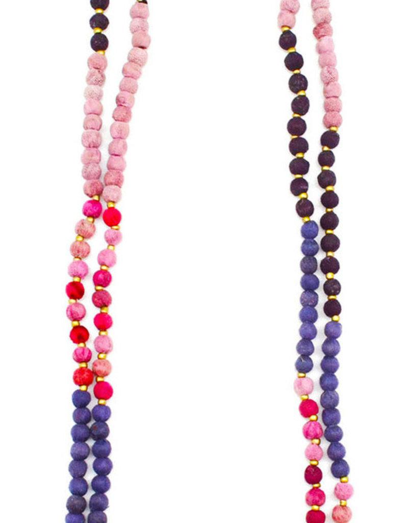 "Necklace/ASHA 2 Strand Rainbow Silk Saree Covered Beads 28"""