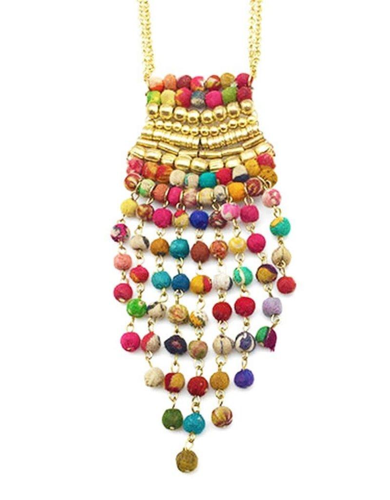 """Necklace/Baarish Rainfall Gold & Silk Saree Covered Beads 27"""""""