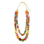 "Necklace/ASHA 2 Strand Large Silk Saree Covered Beads 28"""