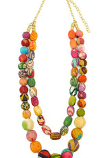 Necklace/ASHA 2 Strand Large Silk Saree Covered Beads 28""