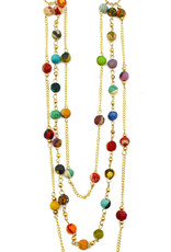 """Necklace/Delicate 3 Strand Silk Saree Covered Beads 22-28"""""""
