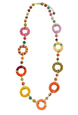 """Necklace/Silk Saree Covered Beads & Rings 26"""""""