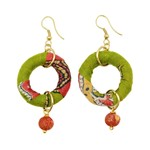 Earrings/Circle w/Bead Drp Down/Silk Saree Covered Bead