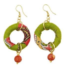 Earrings/Circle w/Bead Drp Down/Silk Saree Covered Bead