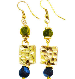 Earrings/Gold Square w/Silk Saree Covered Beads
