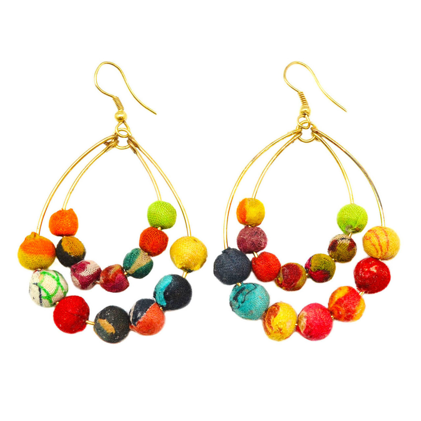 Earrings/Two Hoops w/Silk Saree Covered Beads