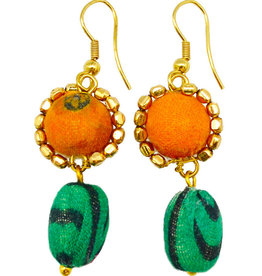 Earrings/Flower w/Silk Saree Covered Beads