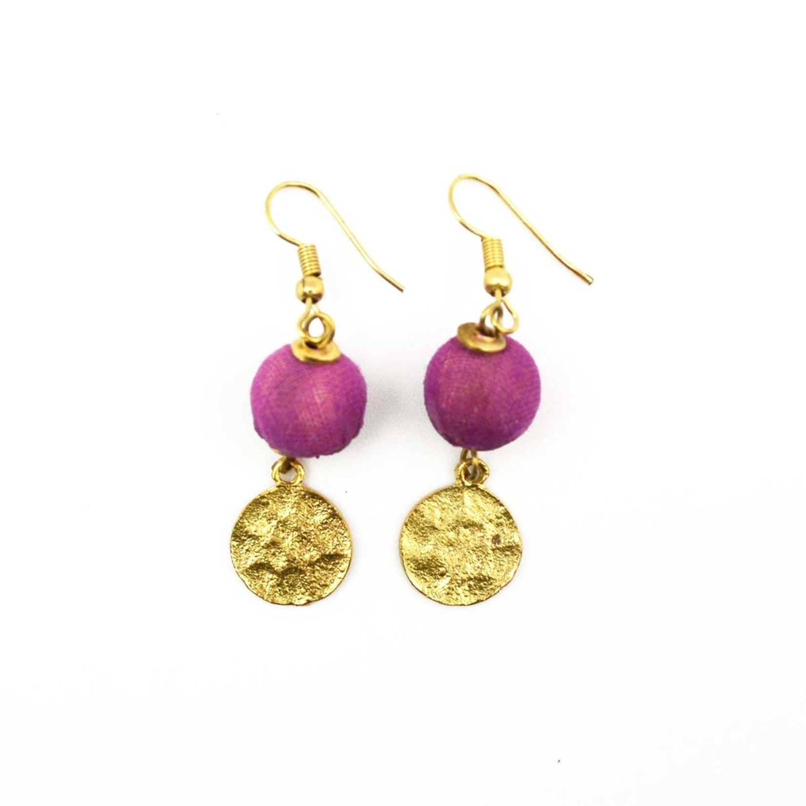 Earrings/Sania Gold Disc w/Silk Saree Covered Bead