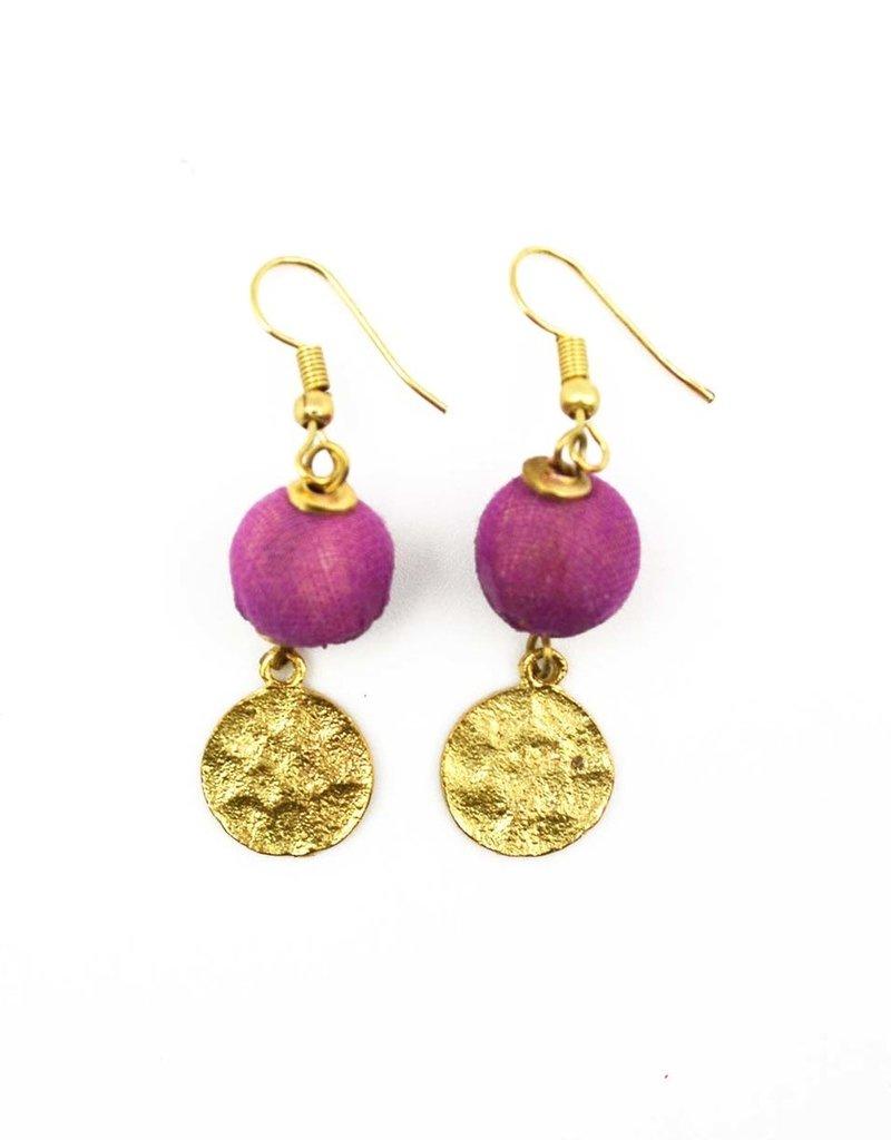 Earrings/Sania Gold Disc w/Silk Saree Covered Bead