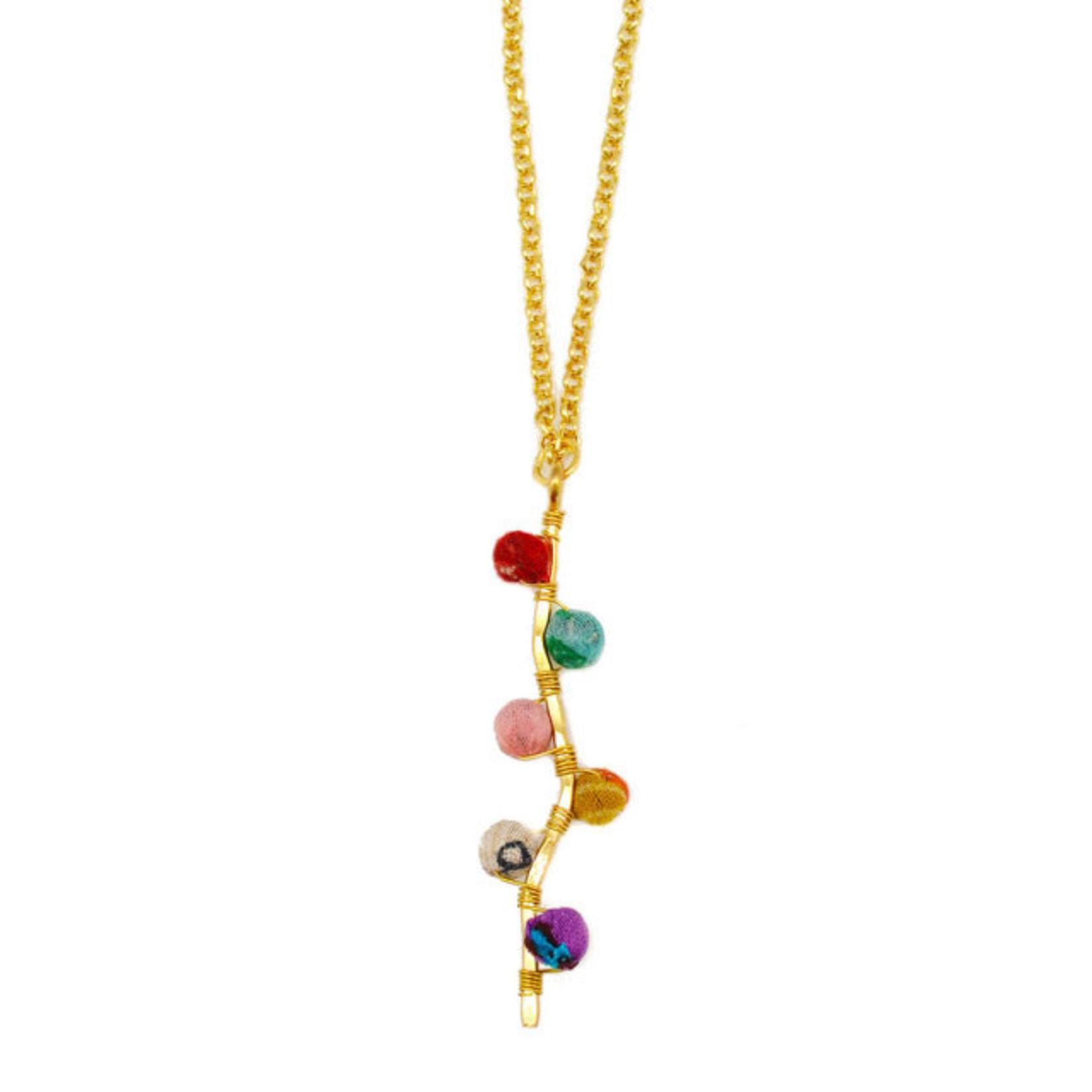 "Necklace/Gold Bar w/Silk Saree Covered Beads 20"""