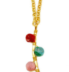 Necklace/Gold Bar w/Silk Saree Covered Beads 20""