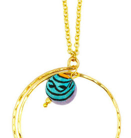 Necklace/Gold Circle w/ Single Silk Saree Covered Bead