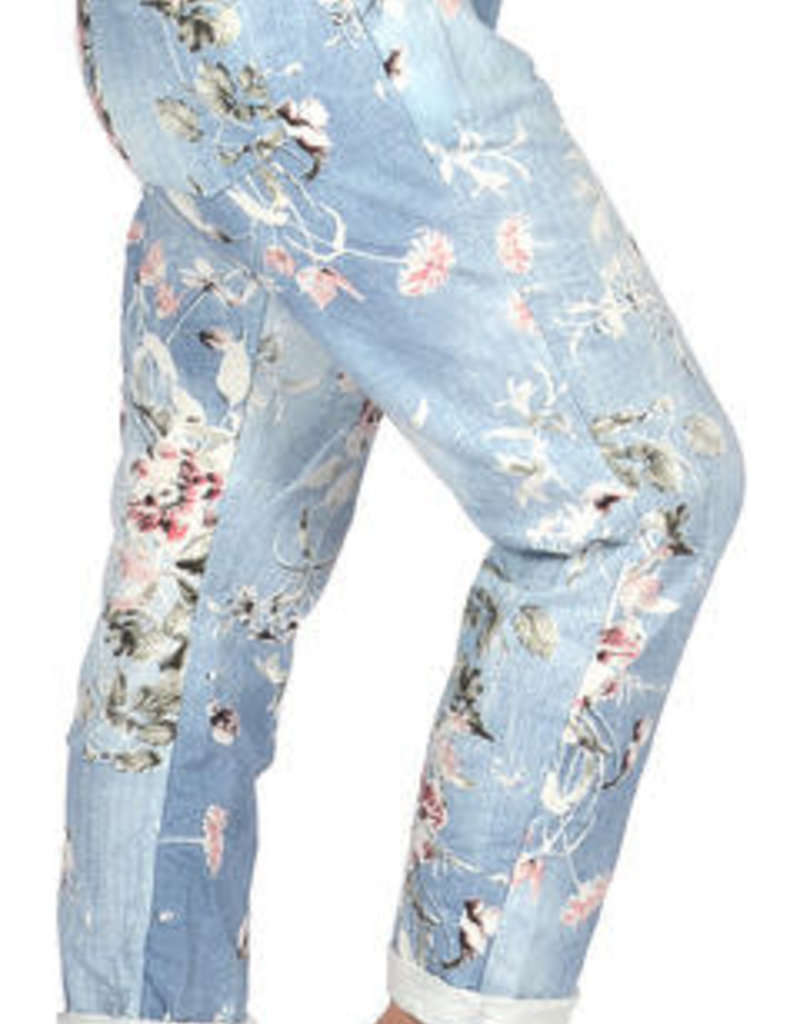 Floral Jersey Jeans One Size w/WhiteCuff/Drawstring Waist