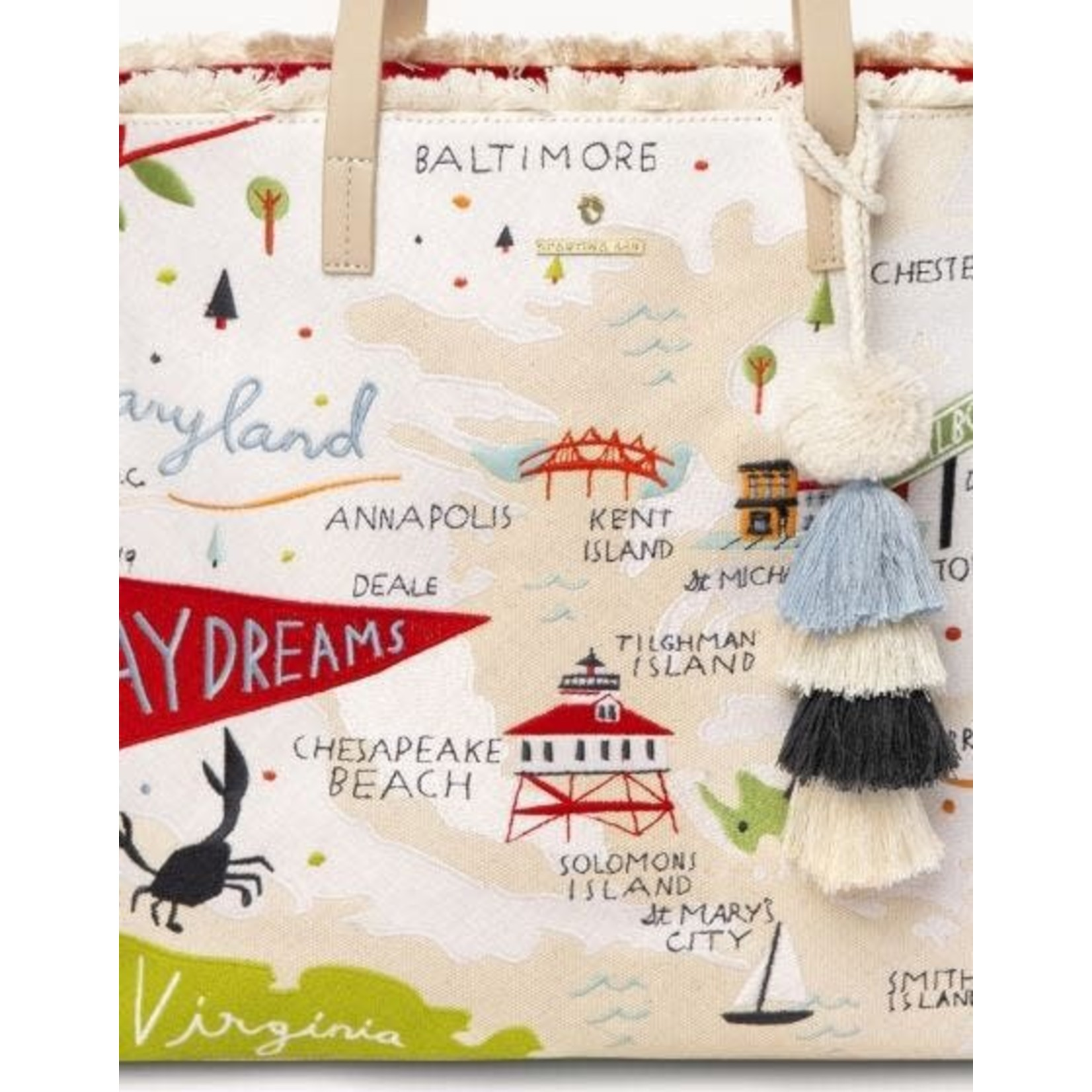Spartina Bay Dreams Large Embroidered Tote