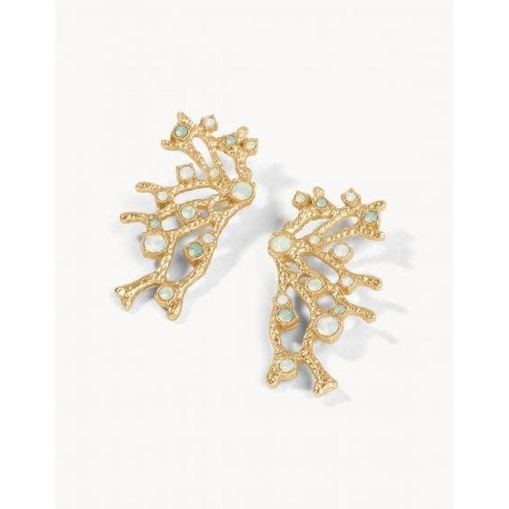Spartina Earrings/Coral Fan Statement/Opal