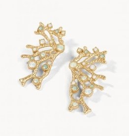 Spartina Earrings/Coral Fan Statement/Opal