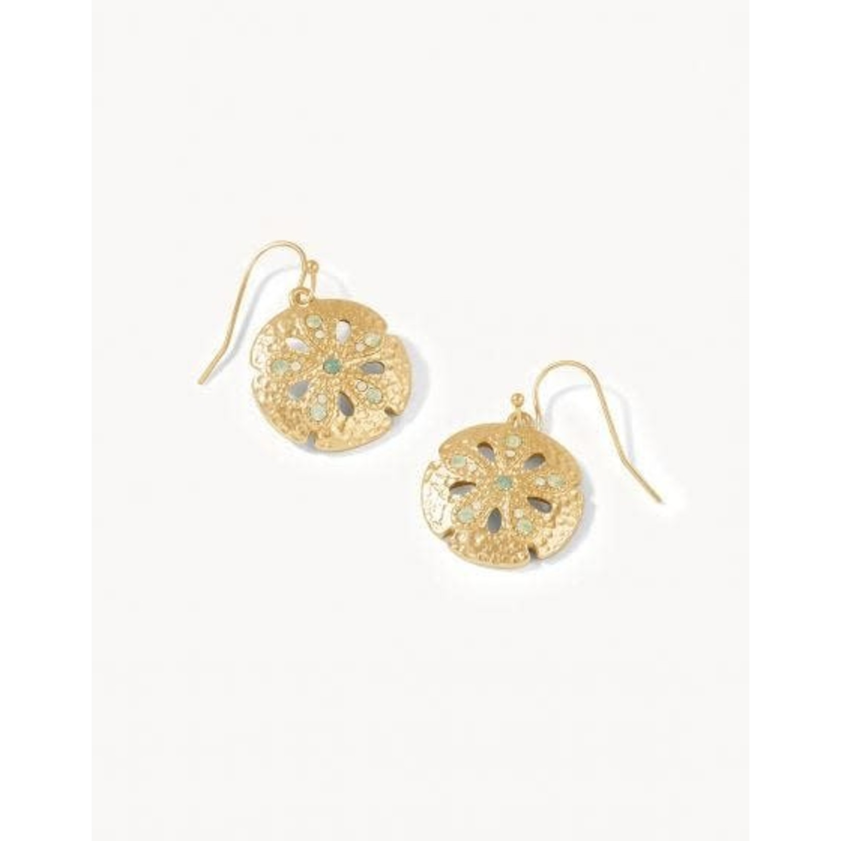 Spartina Earrings/Sand Dollar/Gold & Opal