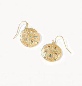 Spartina Earrings/Sand Dollar/Gold & Opal