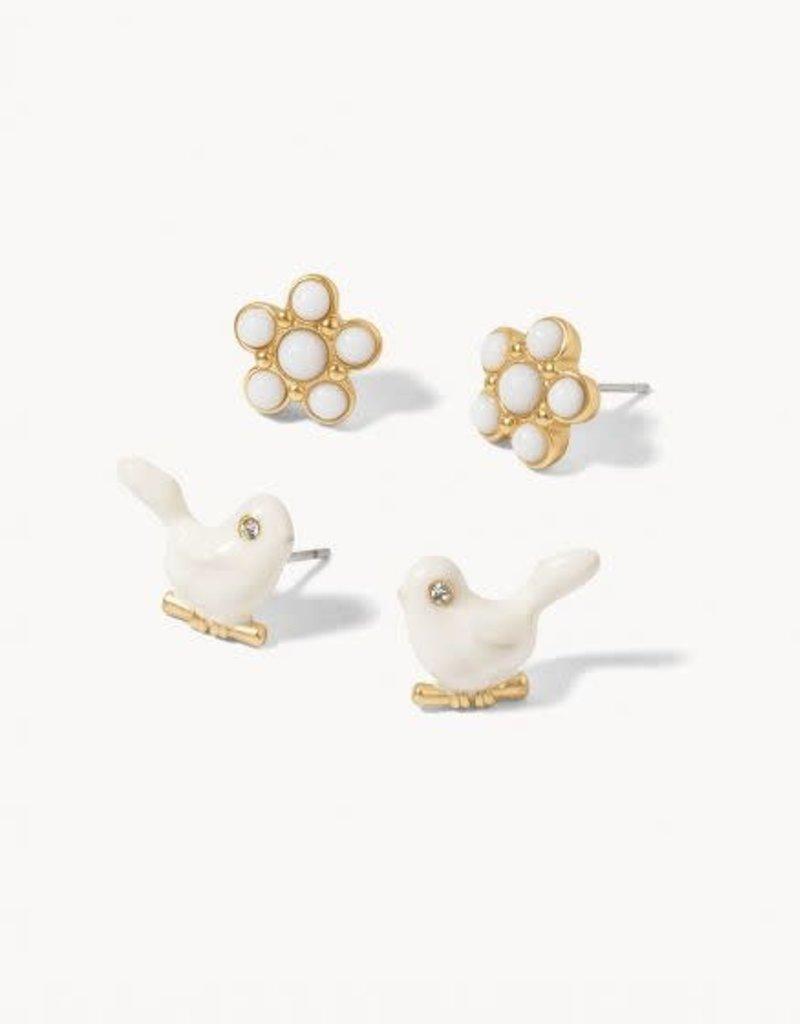 Spartina Earrings/Songbird Stud Set/White