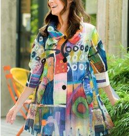 Damee Jacket/Sheer/AbstractWaterColor/AdjCollar