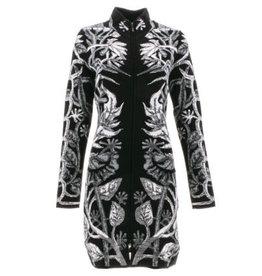 Icelandic Sweater/Black/Wool/FullZip/GreyFloral/Long/Ryder