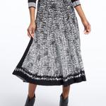 Nic+Zoe Marvel Jacquard Knit BlkWht Static Twirl Skirt