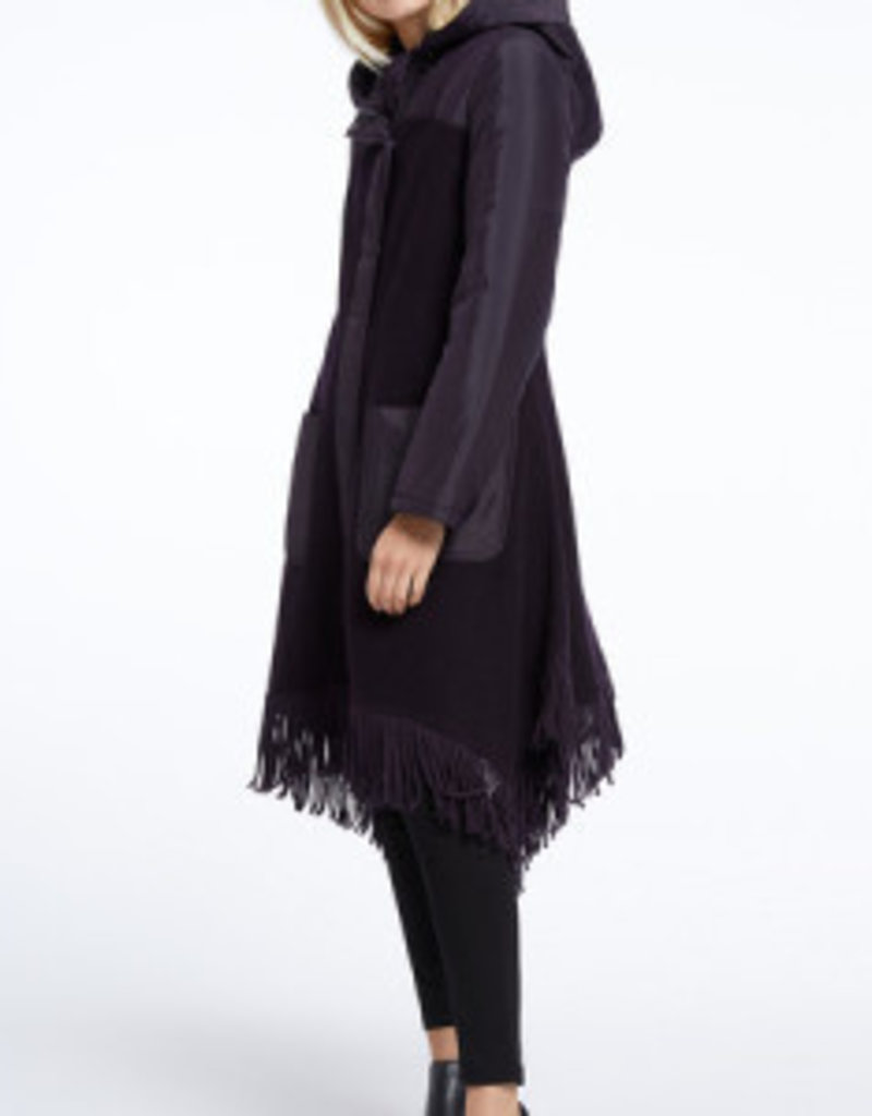 Nic+Zoe Catalyst Coat in Night Shade w/Textured Puffy Hood, Pockets/Fringe