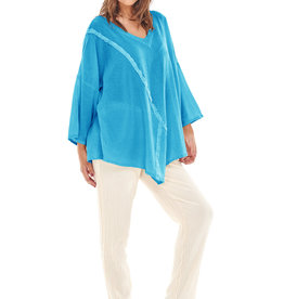 Oh My Gauze Aruba Top w/ Piping Trim Detail
