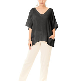 Oh My Gauze Top/Kat/ShortSleeve/Vneck/2SmallFrontPockets/OS