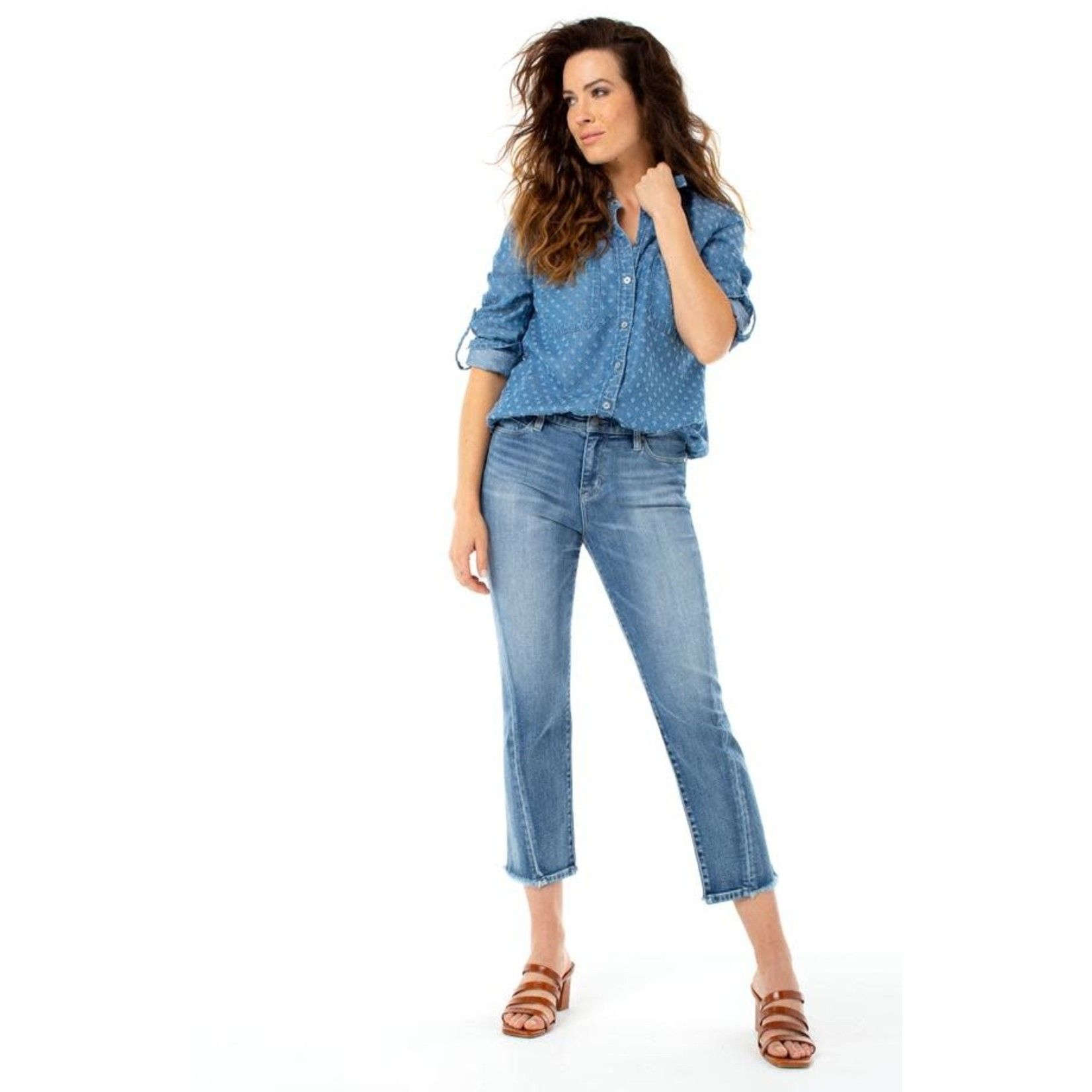 """Liverpool Pant/Crop Straight Twisted Front Side Seam 26"""" Damask Denim"""
