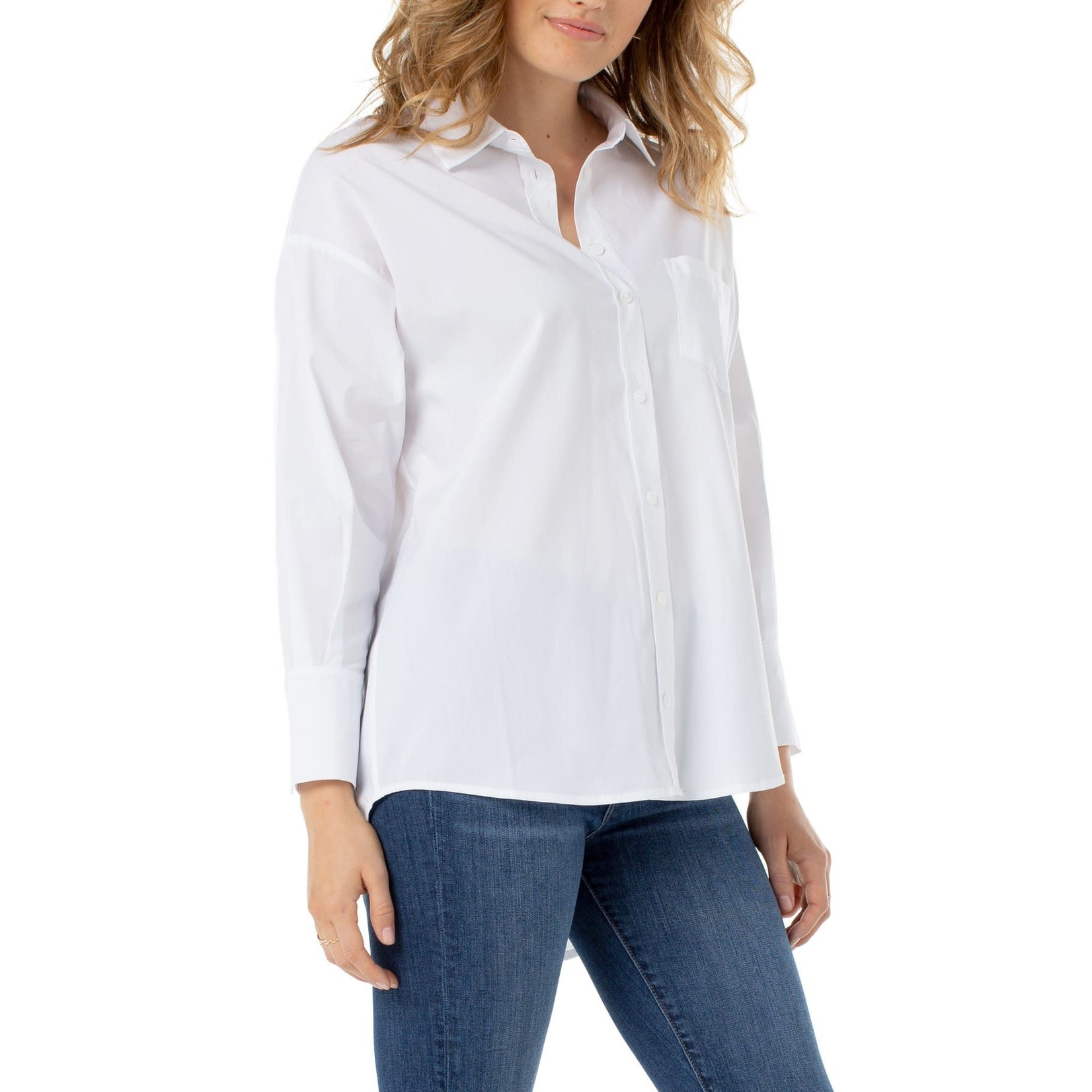 Liverpool Blouse/Oversized Classic White Button Front